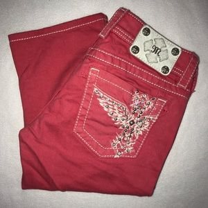 Miss Me Pink Angel Wing Cross Studded Capris 26